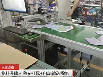 激光打标输送系统:物料升降+激光打标+自动输送